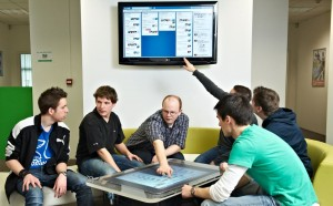A team using Trello with the Microsoft Surface